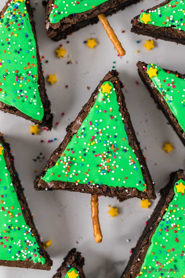 Close up image of decorated brownie Christmas trees.
