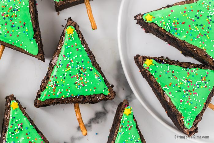 Close up image of decorated Christmas tree brownies.