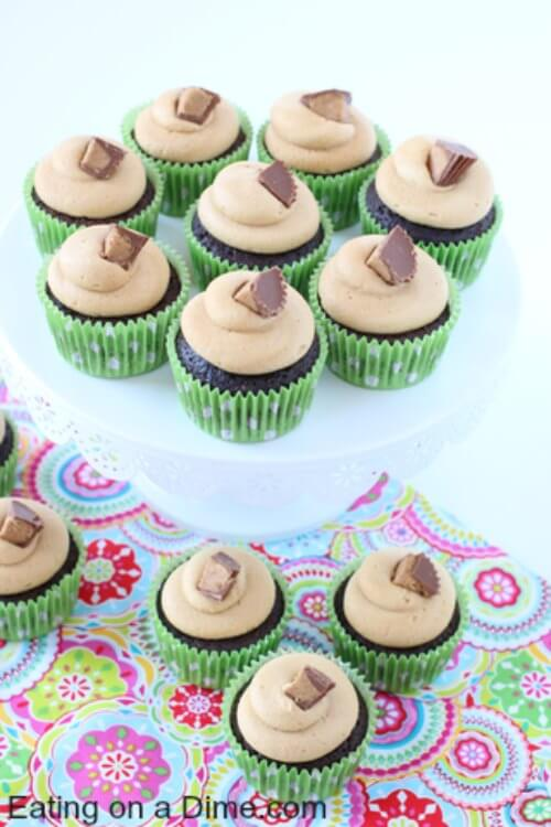 You are going to go love Chocolate peanut butter cupcakes recipe! These Reese's cupcakes are so decadent. The secret ingredient for Chocolate cupcakes with peanut butter frosting is a Reese's peanut butter cup in the middle! Try Reese peanut butter cup cake. They are so decadent and gourmet.