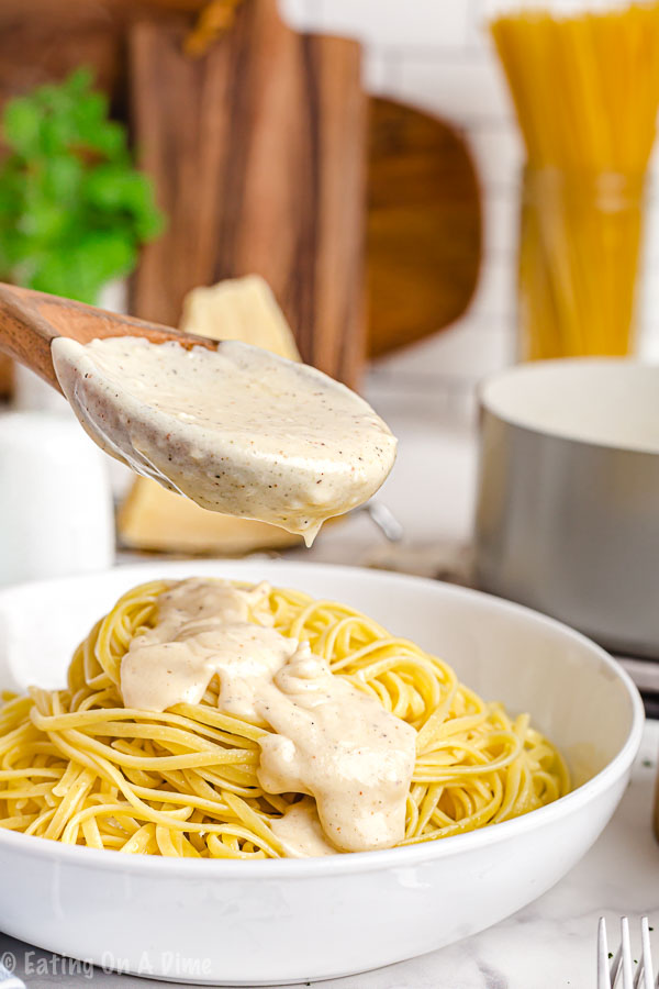 Homemade alfredo sauce recipe has just 5 easy ingredients and comes together with very little work. Skip the store bought sauce and make this tasty recipe.