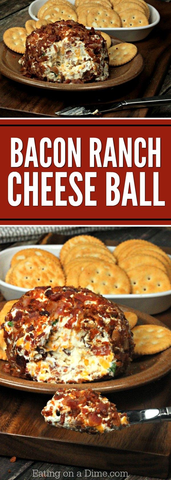 Bacon Ranch Cheese Ball Recipe Easy Appetizer Bacon