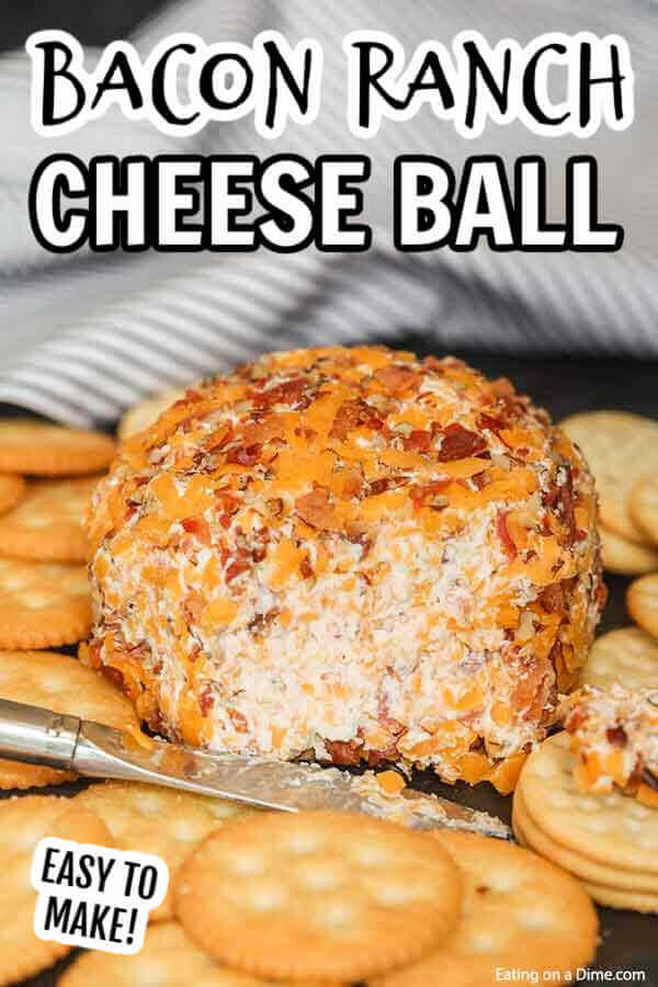 Need an easy appetizers recipe? Try this bacon ranch cheese ball recipe! You are going to love this easy bacon ranch cheese ball recipe with cheddar cheese and cream cheese. This Cheesy Bacon Cheese Ball is the best ever and is low carb and keto friendly too. You are going to love this Ultimate Cheese Ball Recipe pecans. You will love this dip best recipe that is perfect for Christmas and Thanksgiving! #eatingonadime #appetizerrecipes #diprecipes #cheeseballrecipes #baconranch