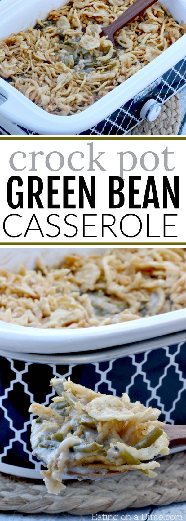 Enjoy this fun twist on the classic Green Bean Casserole Recipe! Free up the oven this Holiday with the Crock pot Green Bean Casserole Recipe!