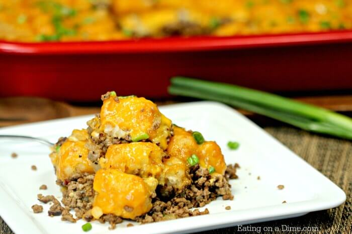 Try this easy Cheeseburger Tator Tot Casserole Recipe. An Easy Tator tot Casserole recipe that is loaded with cheese and packed with flavor.