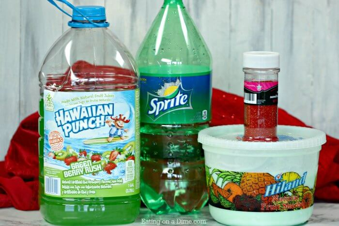 Close up image of ingredients needed for Grinch Punch.