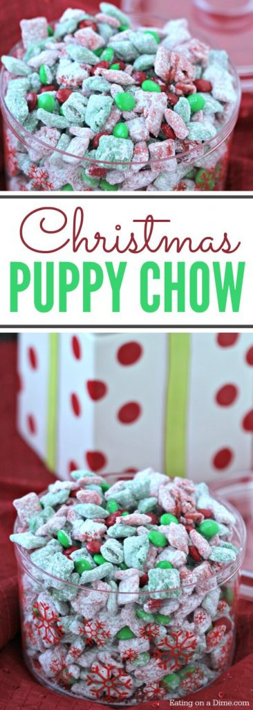 This quick and easy Christmas Puppy Chow Recipe will be a hit! The red and green puppy chow chex is so festive. You will love Chex Mix Muddy Buddies!