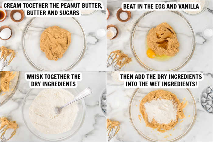 Close up image of the process of making the gluten free peanut butter hershey kiss cookies.