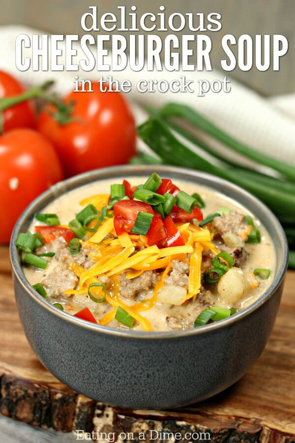 Try this easy crock pot cheeseburger soup recipe today! Get the flavors of a cheeseburger in a delicious crock pot hamburger soup recipe!