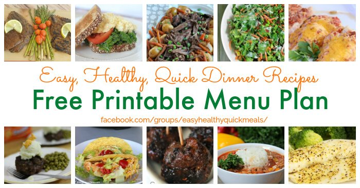 Healthy Meal Plan For January Healthy Menu Plan Pritntable
