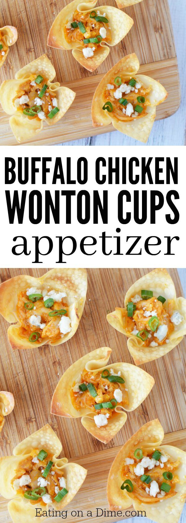 Try this Buffalo Chicken Wonton Cups Recipe! Wonton appetizers are perfect for parties. Add this to your list of party snack ideas. So delicious!
