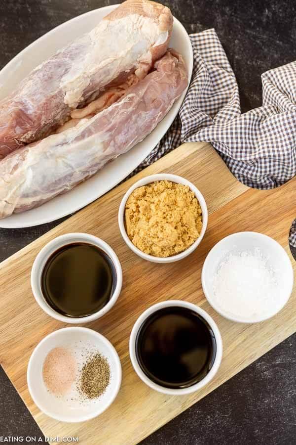Close up image of ingredients for balsamic pork tenderloin.