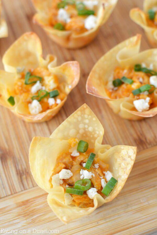 Buffalo Chicken Wonton Cups Recipe Party Snack Ideas