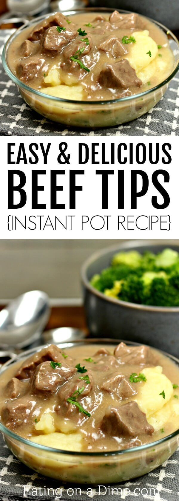 This tender sirloin beef tips recipe is amazing! You will love this Instant Pot Beef Tips and Gravy recipe. Try beef tips over rice or mashed potatoes or noodles! It's absolutely delicious either way. Plus, this recipe is so quick and easy.