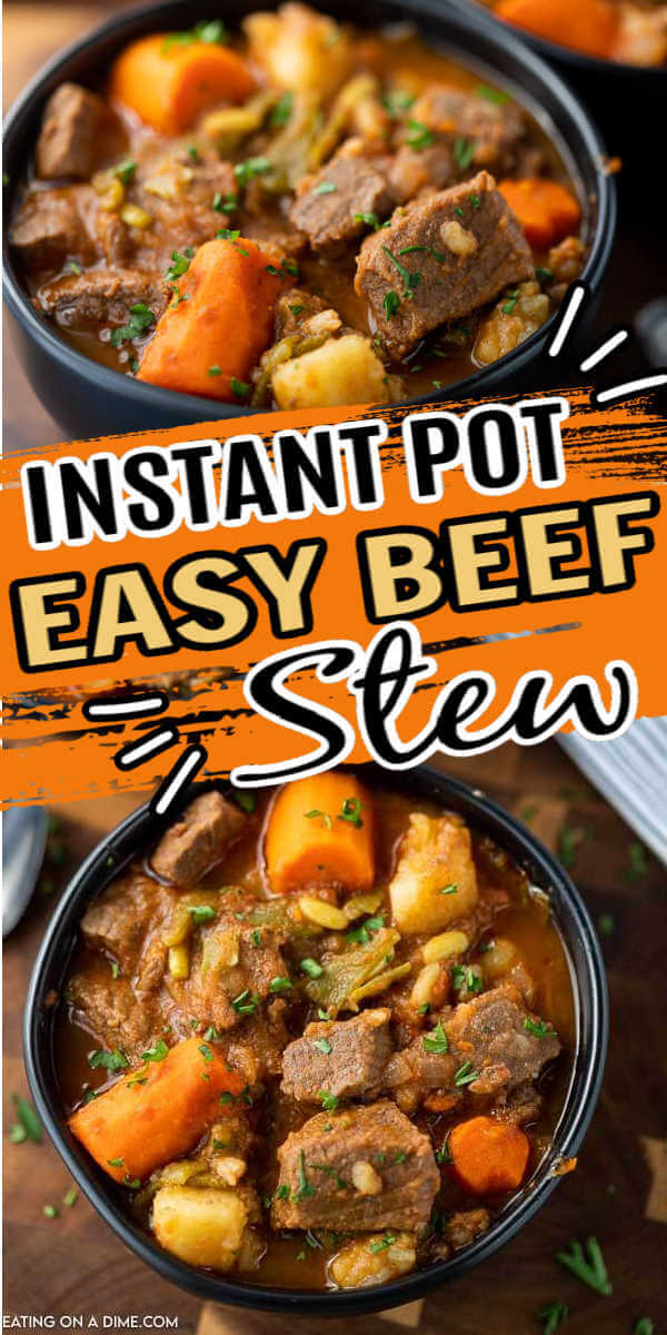 This is the best easy instant pot beef stew recipe. I love this electric pressure cooker beef stew that is made with just a few ingredients. This instant pot beef stew easy is the perfect comfort food and easy enough to make any day of the week! You are going to love this beef stew instant pot recipe! #eatingonadime #instantpotrecipes #beefstewrecipes #pressurecookerrecipes #easydinnerrecipes