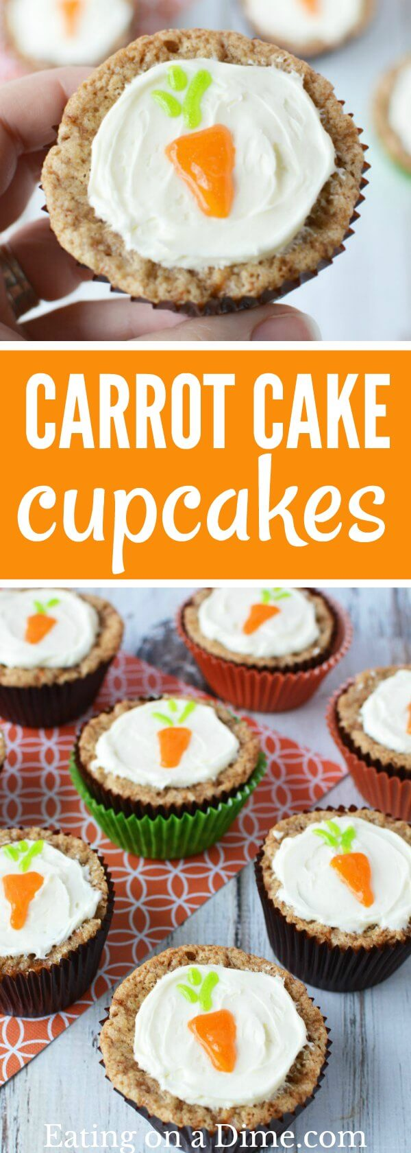 Enjoy this Easy Carrot Cake Cupcakes Recipe! The entire family will love these carrot cupcakes. They are truly the best carrot cake cupcakes. Carrot Cake Muffins are so cute! Make carrot muffins today.