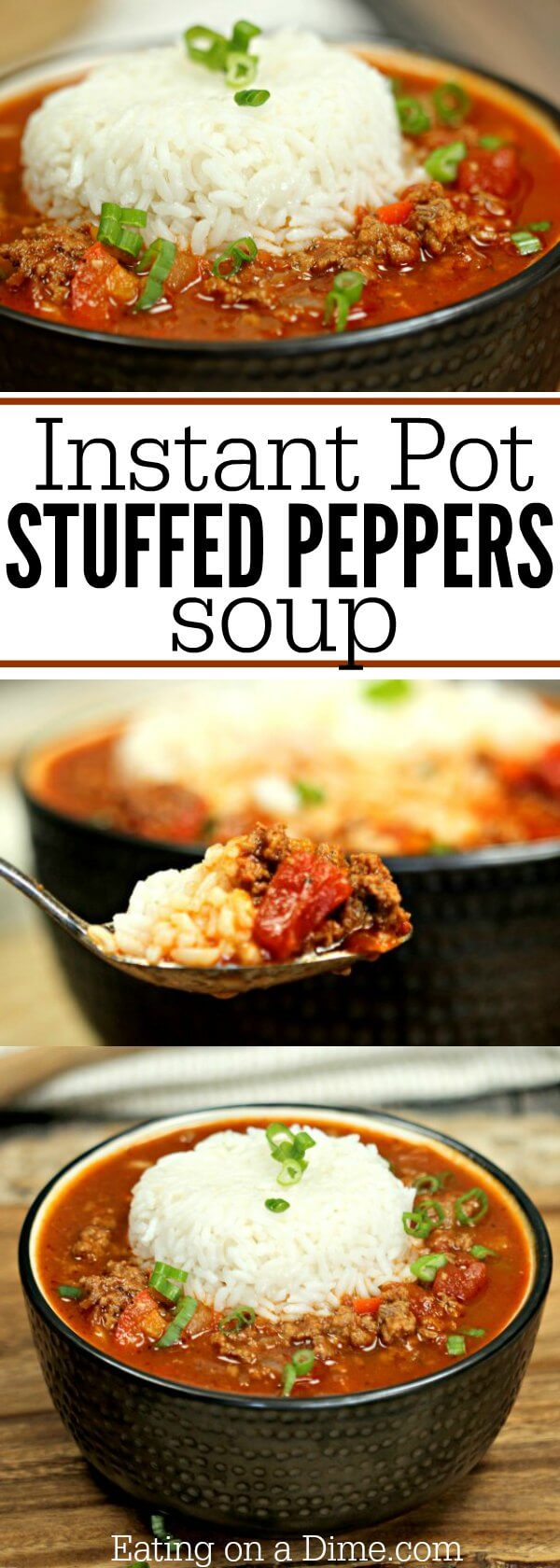 This Instant Pot Stuffed Peppers Soup Recipe is ready in under 30 minutes! But this stuffed bell peppers soup pressure cooker recipe tastes amazing!
