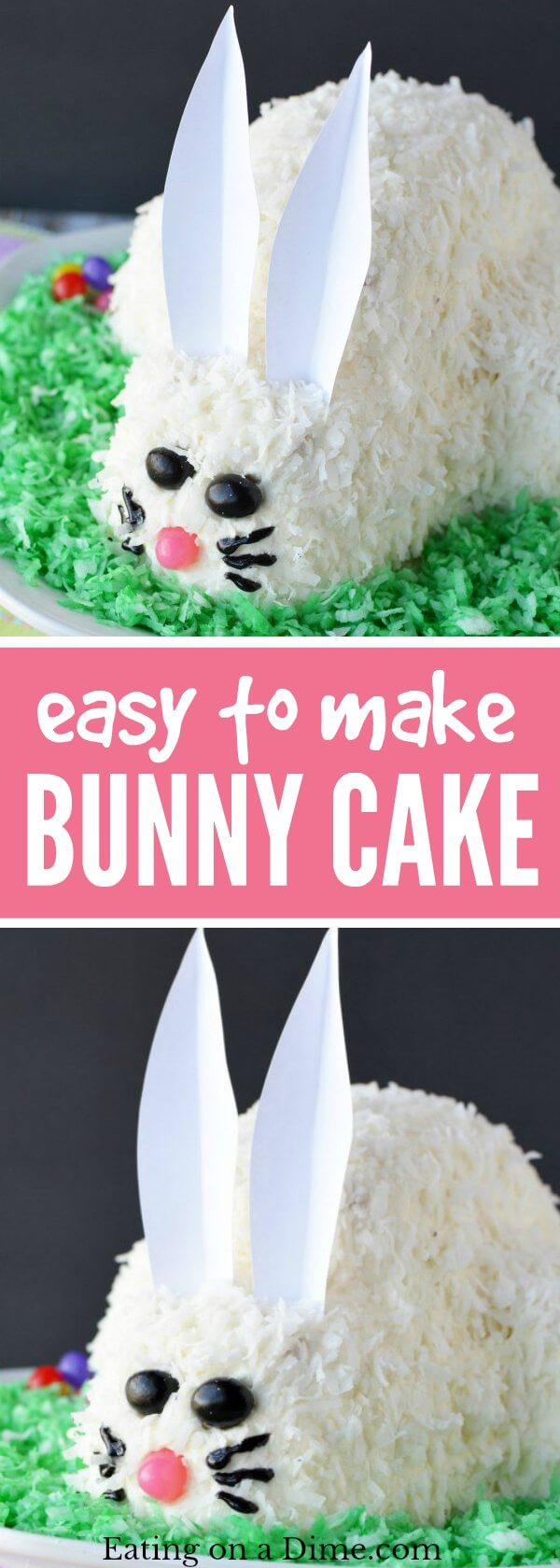 This adorable Easter Bunny Cake will be a hit! You will love how simple this easy bunny cake is. The flaky coconut and jelly beans come together to make this bunny cake recipe so cute! Try this Easter cake recipe! We love easy Easter cakes!