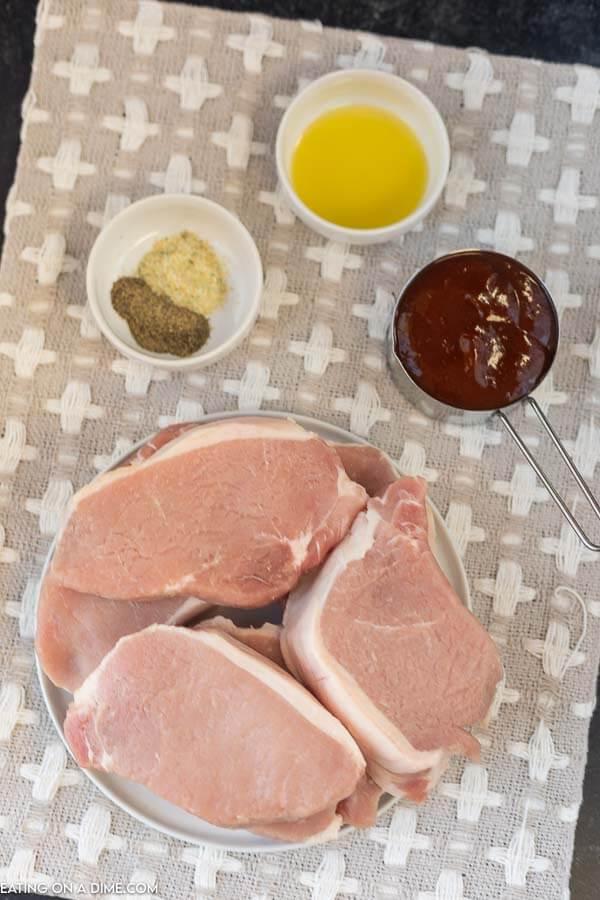 ingredients for recipe: seasonings, bbq sauce, pork chops