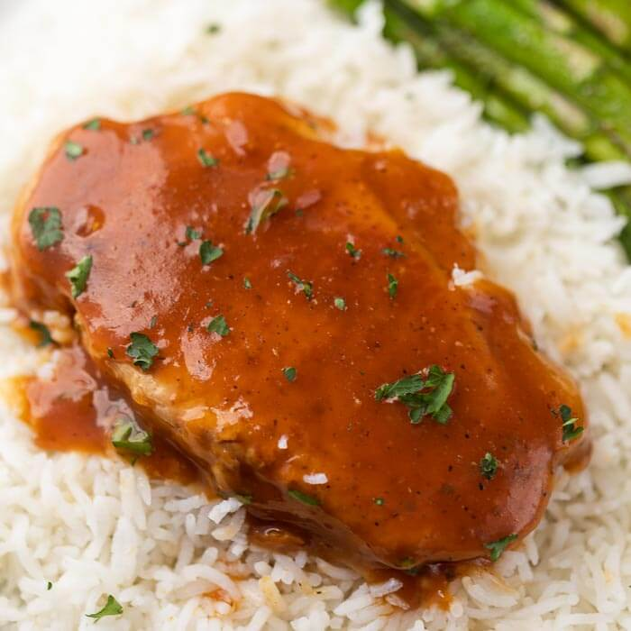 pork chops with rice and asparagus