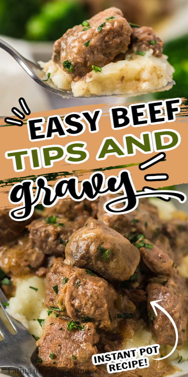This instant pot beef tip recipe is out of this world! The beef is tender and the gravy is delicious! Try beef tips over rice or pasta.