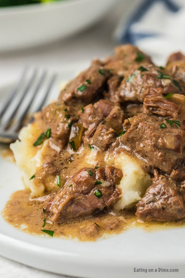 If you need a simple recipe that everyone is sure to love, try Crockpot Beef Tips Recipe. The beef is so tender and the gravy is amazing.