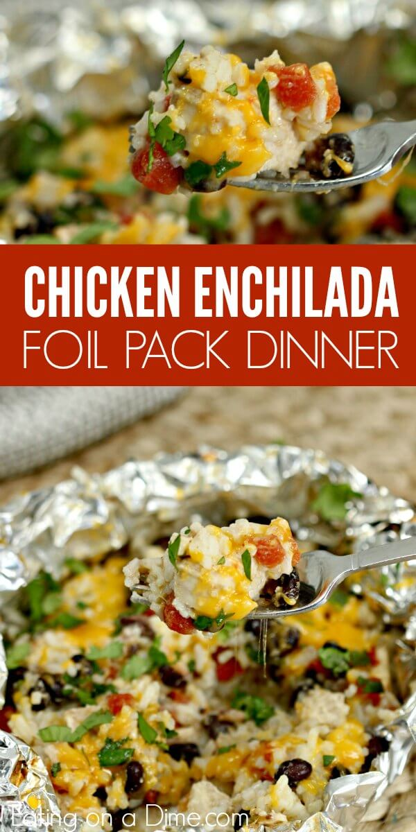 This easy chicken enchilada foil packet meal will be a hit with the entire family! Easy chicken enchilada foil dinner is packed with yummy chicken, cheese, beans and more! Try Easy chicken enchilada foil packet recipe. Cleanup is a breeze!