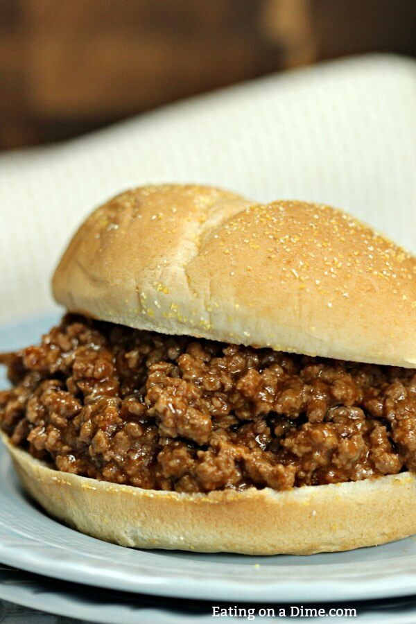 You have to try this Easy Crock pot Sloppy Joes Recipe! With only 4 ingredients, this Sloppy Joe Slow Cooker Recipe is still packed with flavor. Try some easy crock pot sloppy joes today!