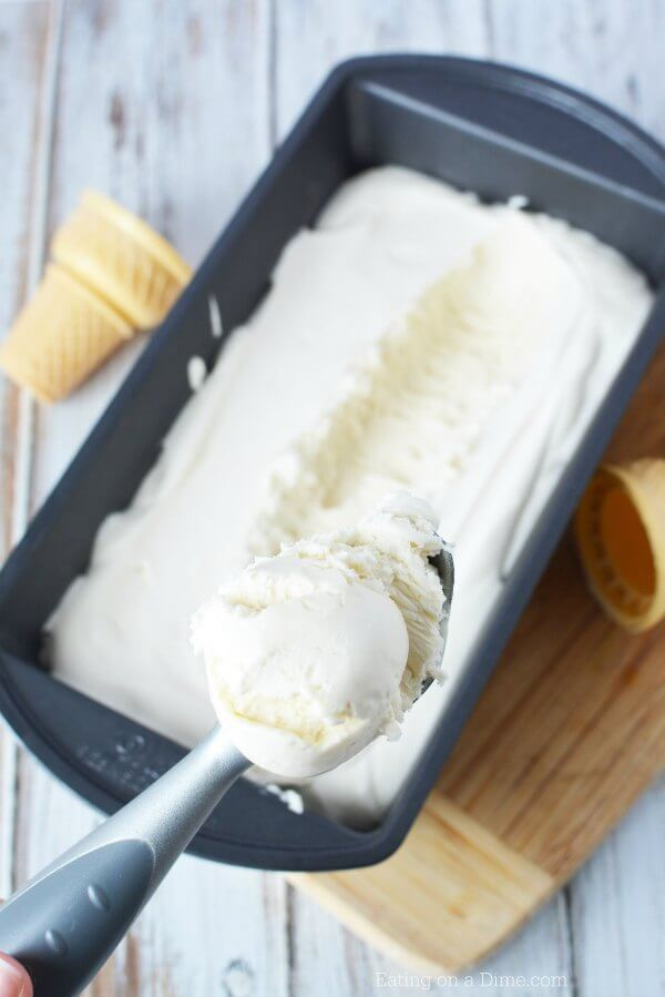 Try this Easy homemade vanilla ice cream recipe! It is so creamy and delicious. Plus, you don't need an ice cream maker for this easy ice cream recipe! This easy vanilla ice cream recipe is so simple to make. Everyone is going to love it!
