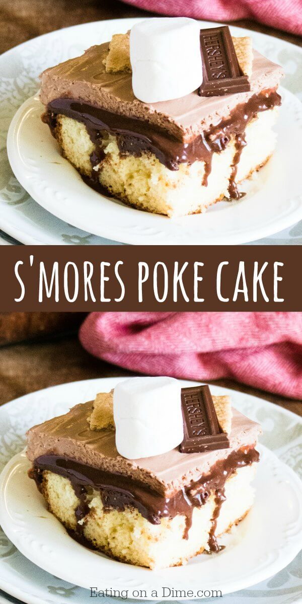 This yummy S'mores cake recipe will be a hit! It's moist and delicious. S'mores poke cake recipe is loaded with chocolate, marshmallow creme and more! It is goodness in every single bite. It is the best cake to take to BBQ's, parties and more!