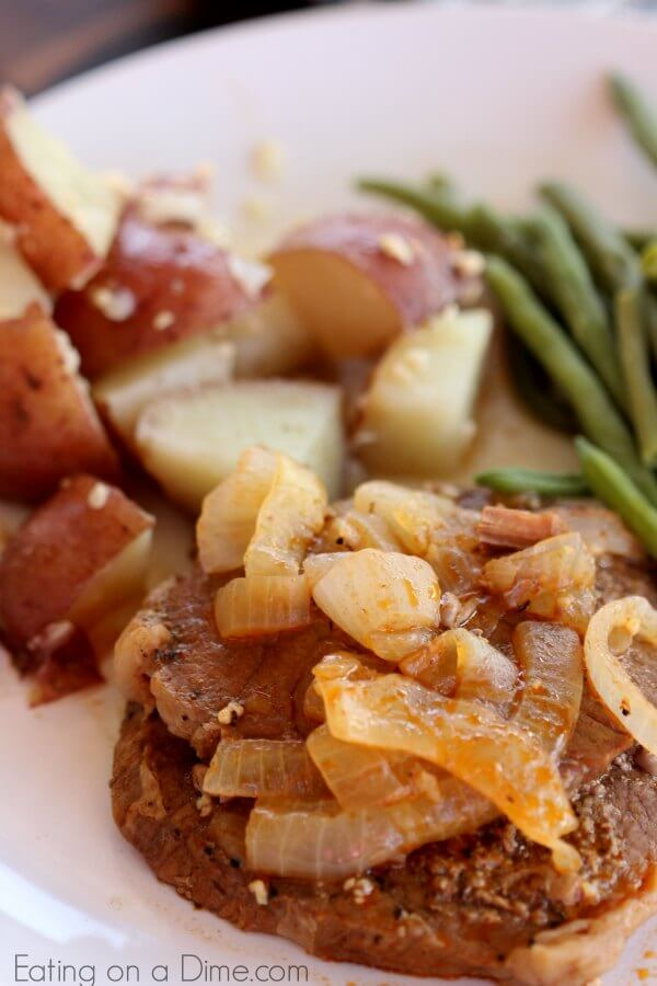 Try this yummy Instant pot steak recipe for dinner tonight. This Pressure cooker steak recipe is incredibly simple and so delicious. The steak is packed with flavor and so tender. The foil pack potatoes and onions make the best side dish. Your entire family will love this recipe!