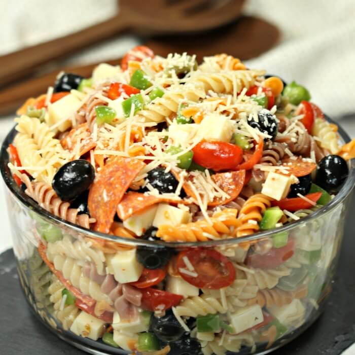 Italian Pasta Salad Recipe Is Loaded With Olives Tomatoes Cheese And More Easy