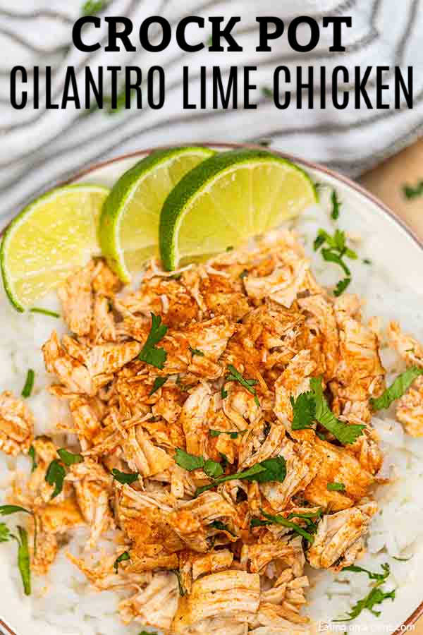 This Cilantro Lime Chicken Crockpot Recipe is packed with flavor! Slow cooker cilantro lime chicken is a meal the whole family will enjoy!
