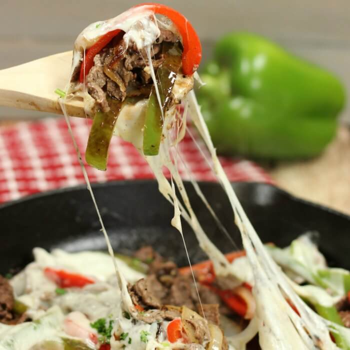 Keto Philly Cheese Steak Skillet dinner is loaded with tender beef, onion and bell peppers. Low carb philly cheese steak recipe is so easy. Try this today!