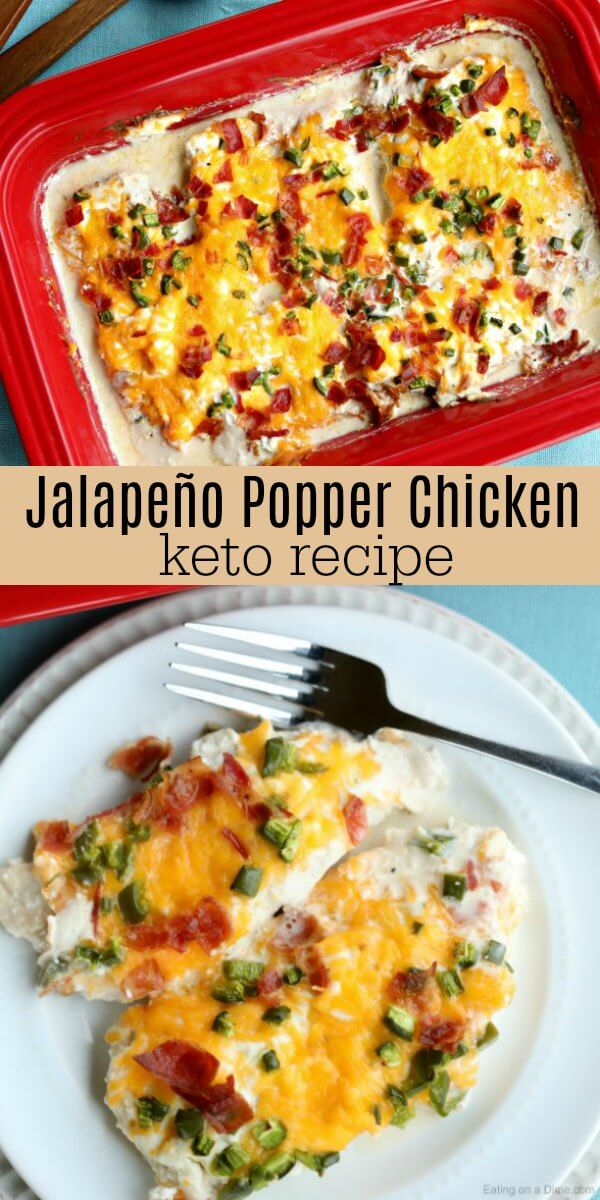 Keto Jalapeño Popper Chicken Recipe is packed with so much amazing flavor. Lots of cheese, bacon and more make this Keto Jalapeño Popper Chicken oh so good!