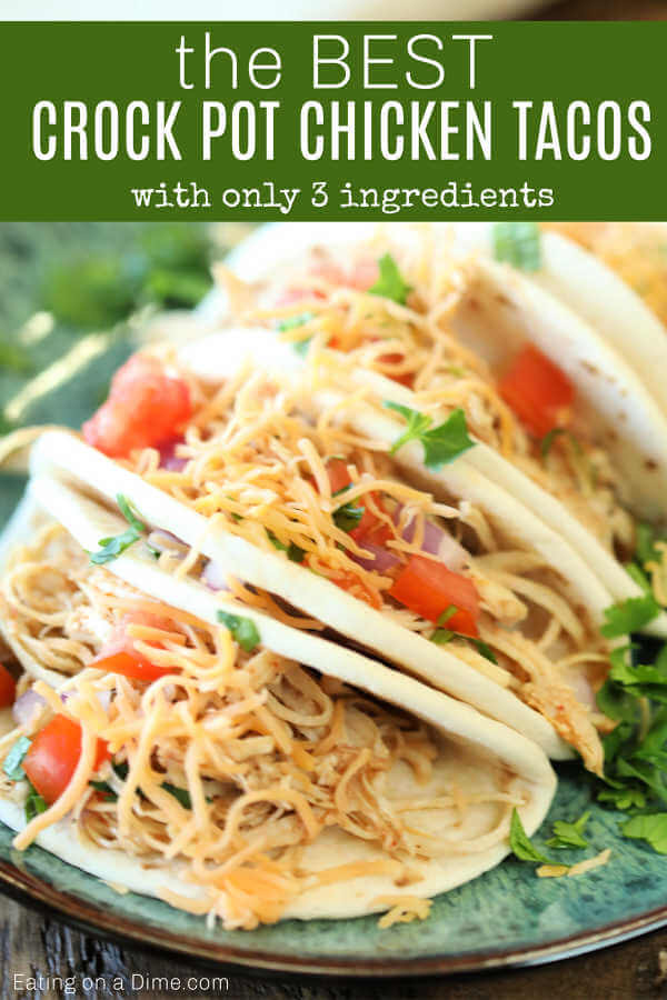 Crockpot Chicken Tacos recipe is so easy! It's very tasty and sure to make dinner a breeze. Crockpot Chicken tacos has only 3 ingredients and will be a hit.