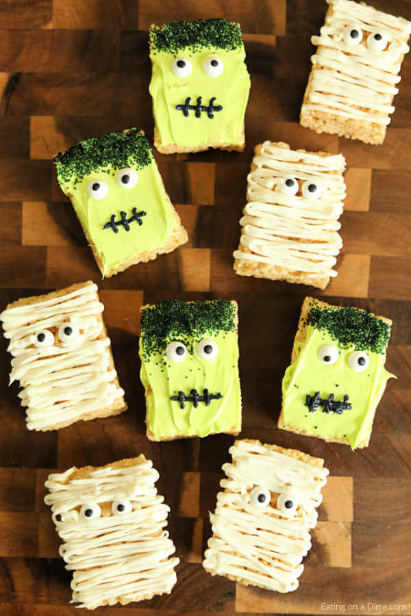 Halloween Rice Krispie Treats , Mummies \u0026 Monsters ready in