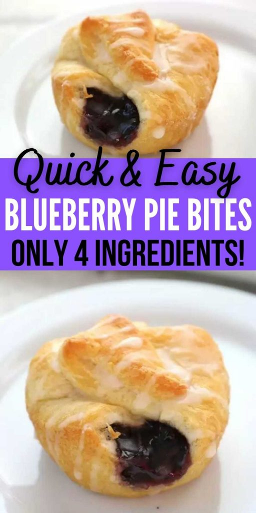 Blueberry pie bites are the perfect bite size dessert that are easy to make with crescent rolls.  They are packed with delicious blueberry filling in a flaky crust. They are so easy to make and delicious too! #eatingonadime #blueberrydesserts #pierecipes #easydesserts