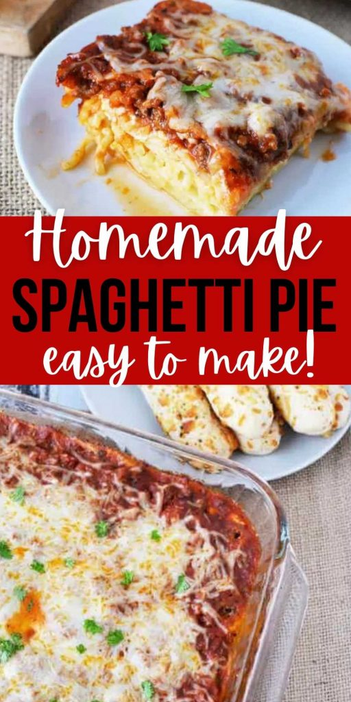 Easy Spaghetti Pie Recipe is loaded with cheesy layers and hearty meat sauce. It is easy to make, freezer friendly and can feed a crowd.You will love this spaghetti casserole that can be Madde with ricotta cheesed or cottage cheese! #eatingonadime #spaghettirecipes #casserolerecipes #beefrecipes