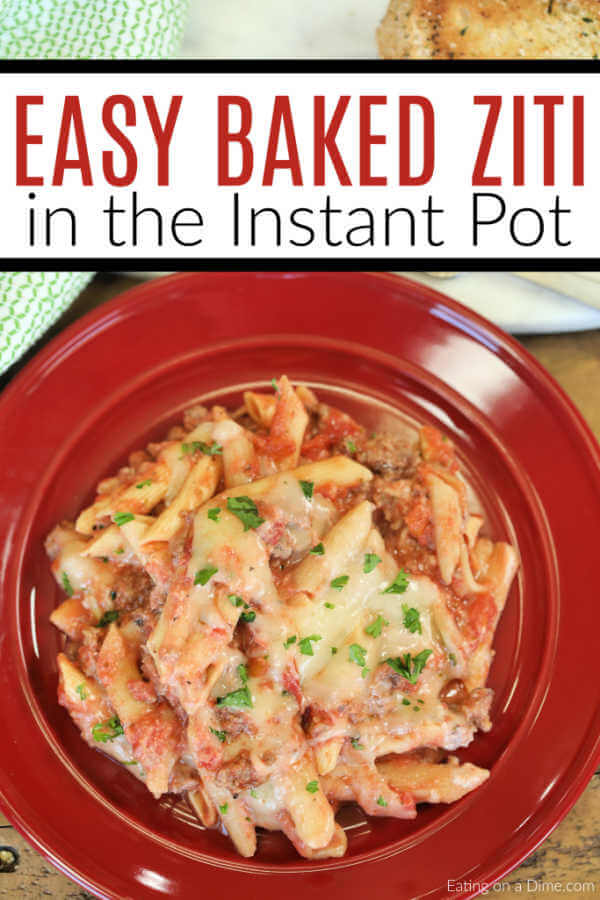 Instant pot baked ziti can be ready in under 10 minutes for a one pot meal your family will love.This meal is faster than take out and tastes better too.