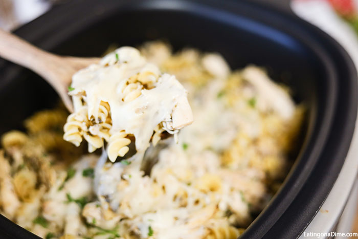 With very little prep work, Crock pot Pesto Chicken Pasta Casserole comes together quickly. Tender chicken, pesto and more combine for a flavorful meal.