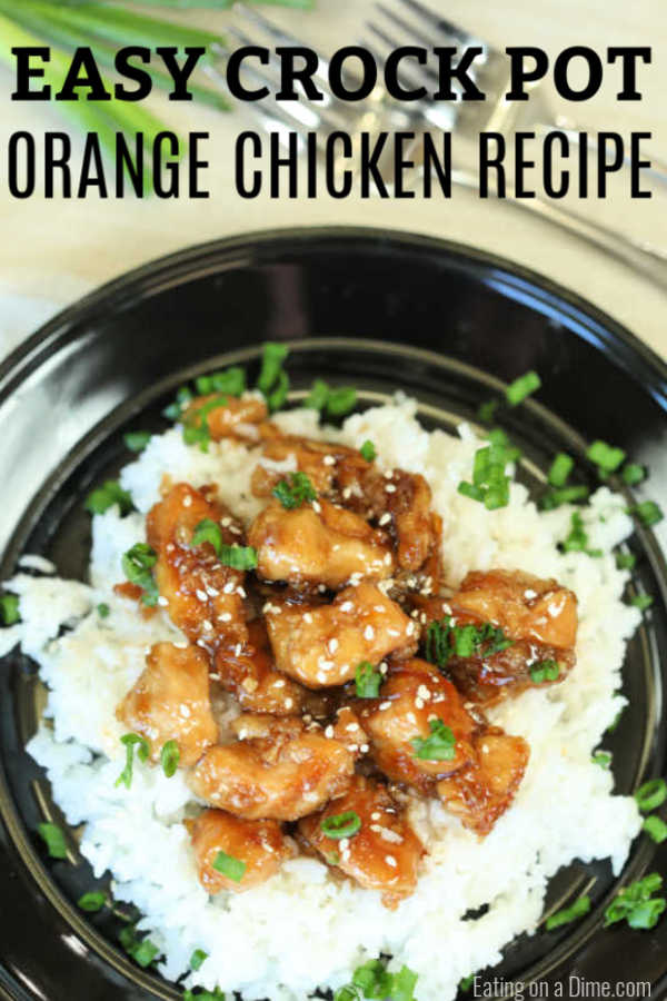 Enjoy delicious Crockpot orange chicken from the comfort of your home and save time and money.  The savory and sweet orange sauce is thick and delicious.
