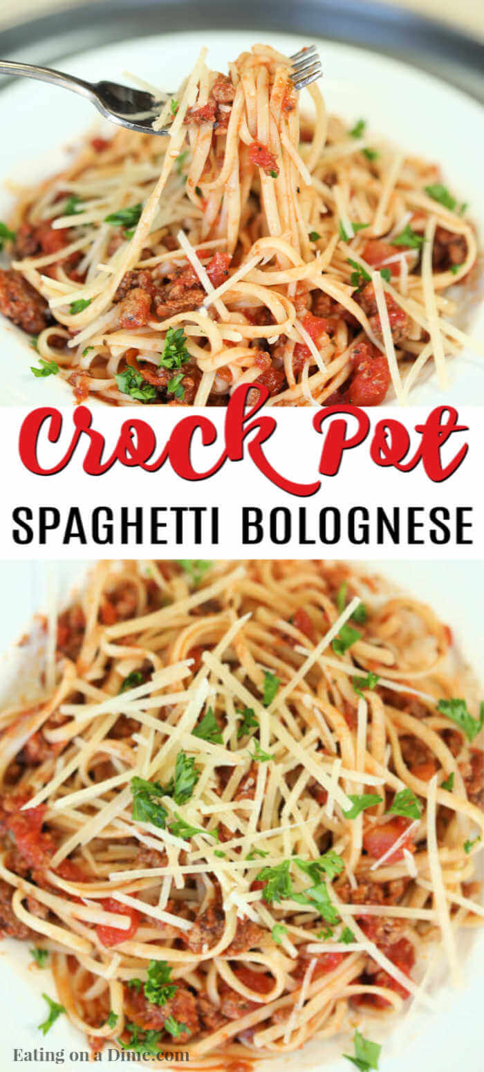 Slow cooker spaghetti bolognese recipe is slow cooked to perfection for the best Italian meal. Enjoy this hearty bolognese sauce for a great weeknight meal.