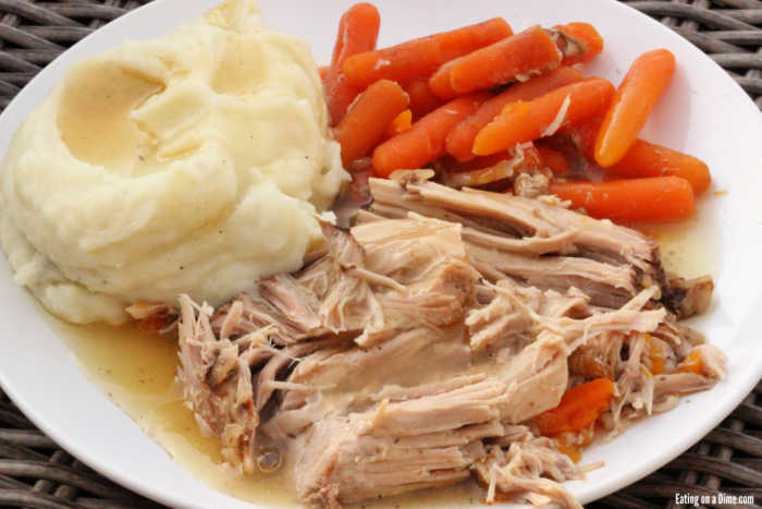 This Crock Pot Pork Roast is tender and delicious with very little work. The pork falls apart from being slow cooked and each bite is so flavorful.