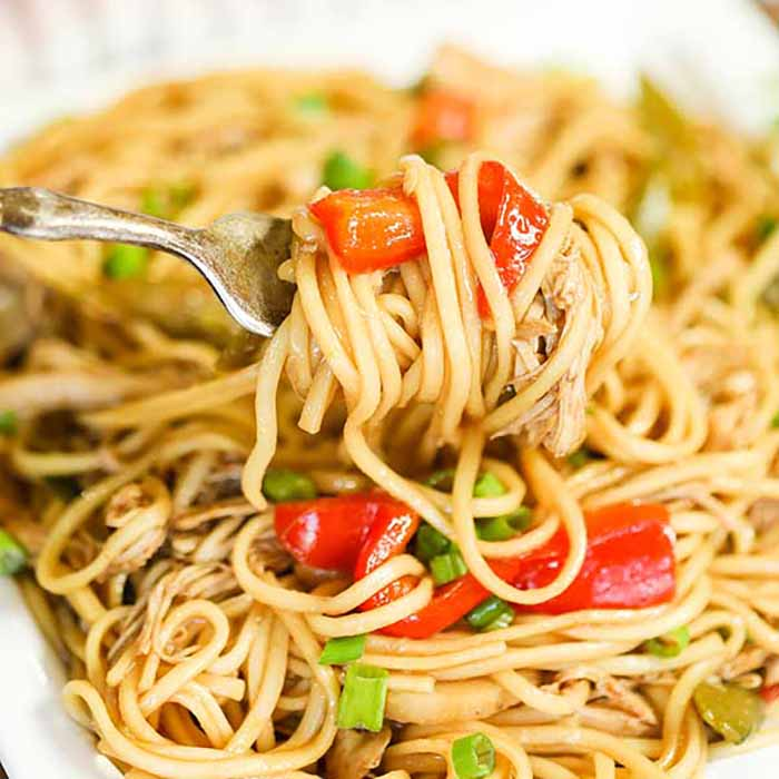 No need to order take out when you can make this easy and deliciousCrock pot Chicken Lo Mein Recipe at home.The slow cooker does all the work.