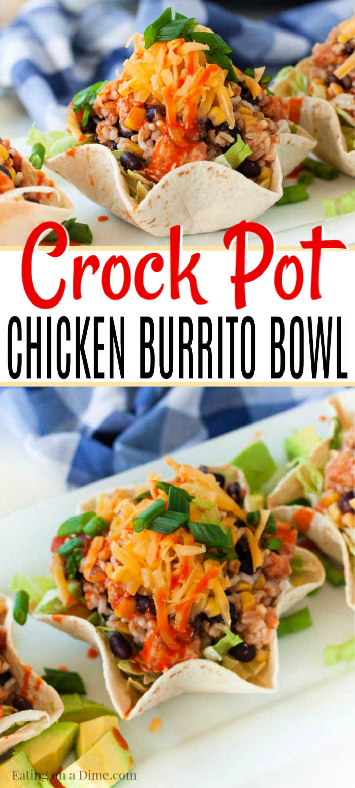 You are going to love this quick and easy crock pot chicken burrito bowl recipe. This slow cooker recipe is easy to put together and still tastes delicious.