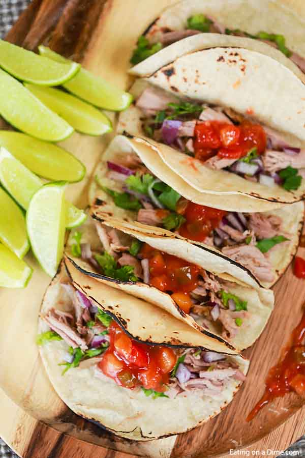 Tender pork and peach salsa come together for the best Crock Pot Pork Tenderloin Tacos. Enjoy this meal any night of the week thanks to the crock pot.