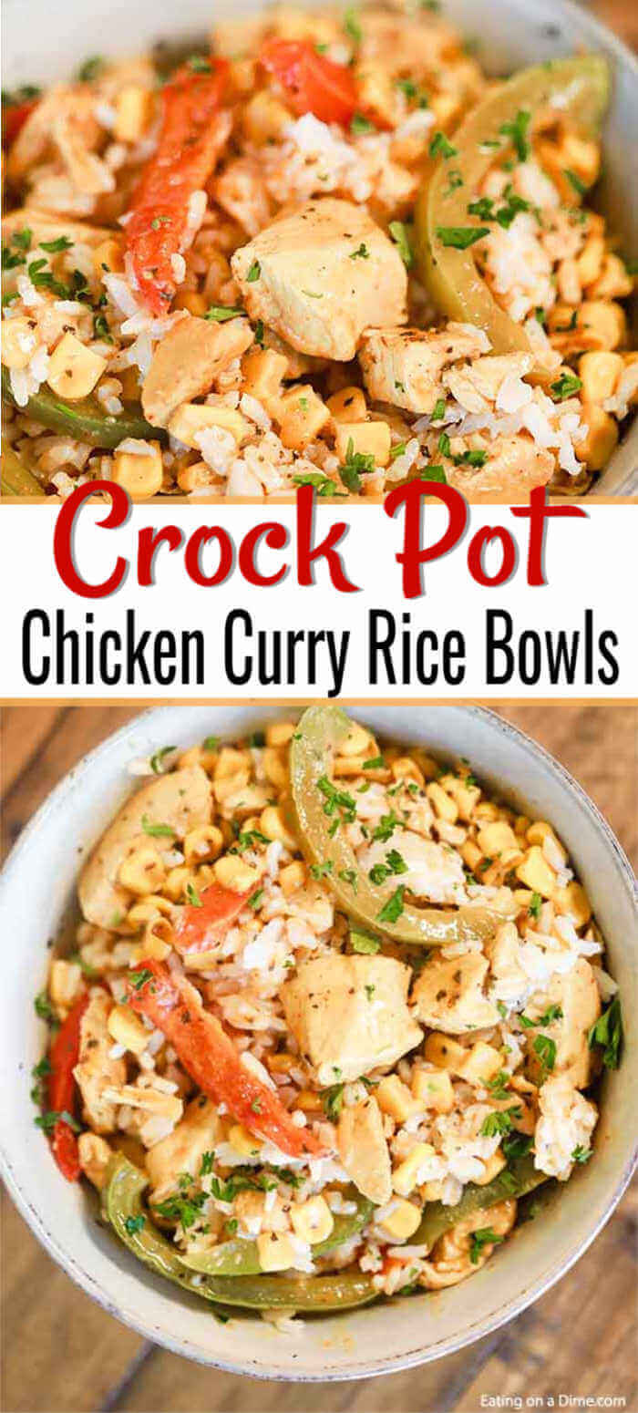 Enjoy all the flavors of chicken curry when you make this Chicken Curry Rice Bowl. Toss everything into the slow cooker and come home to a great dinner.