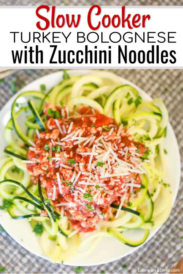 Enjoy Crock Pot Turkey Bolognese with Zoodles without any guilt because this meal is healthy and delicious. Dinner is a breeze and so tasty!