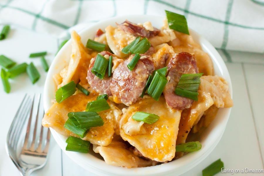 Crock Pot Cheesy Pierogi and Kielbasa Casserole is an easy one pot meal for the best comfort food. Dinner is a breeze with this flavor packed recipe.
