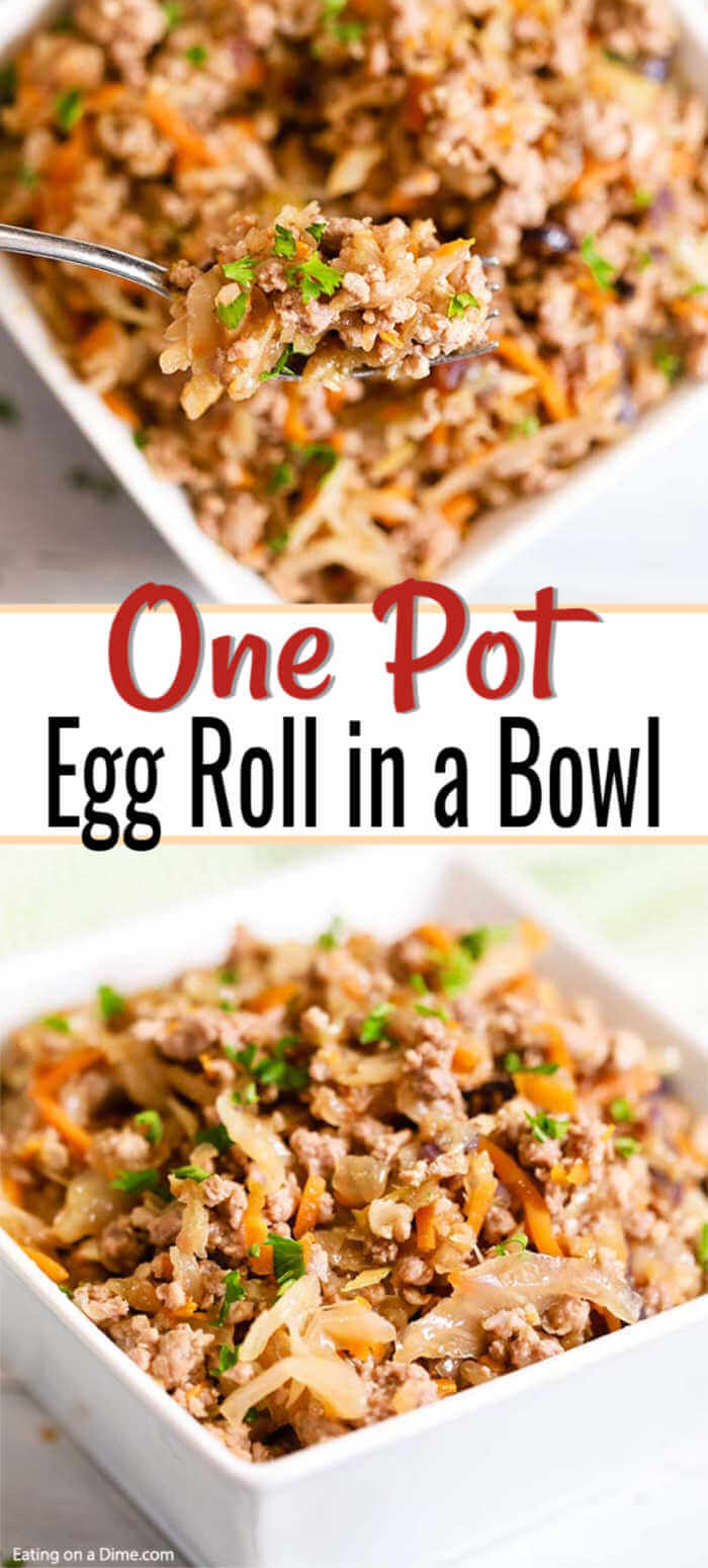 Enjoy Egg roll in a bowl recipe while staying low carb but still with tons of flavor. You will find everything you love about egg rolls packed in this bowl.